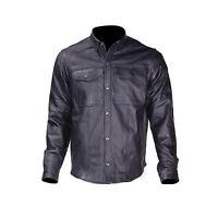 Mens Black Split Leather Motorcycle Biker Club Shirt Snap Down Collar Snap Front