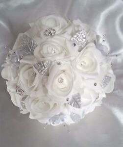 Bouquet Da Sposa Bianco.Bianco Matrimonio Bouquet Da Sposa Argento Strass Cuori Fatto A