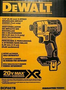 Brand-New-DEWALT-DCF887B-20-Volt-MAX-XR-3-Speed-1-4-in-Impact-Driver-Tool-Only