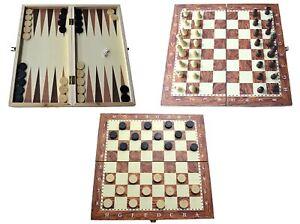 Wooden-Board-Game-Set-Compendium-VOYAGE-Jeux-D-039-echec-Backgammon-Dames