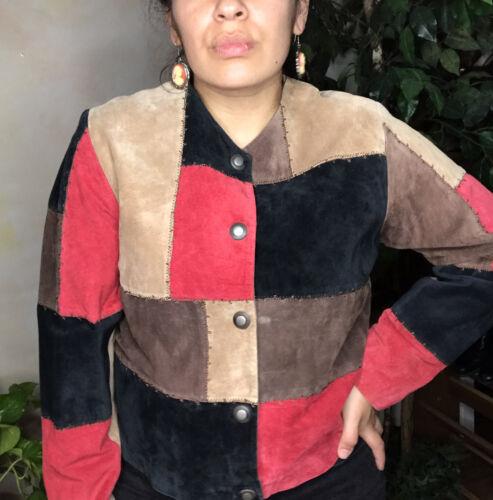 Vintage Karen Arnold Color Block Leather Blazer Ja