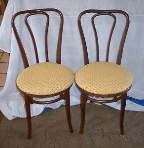 Furniture sc154 Painstaking Pair Of Oak Bentwood Ice Cream Chairs Sidechairs