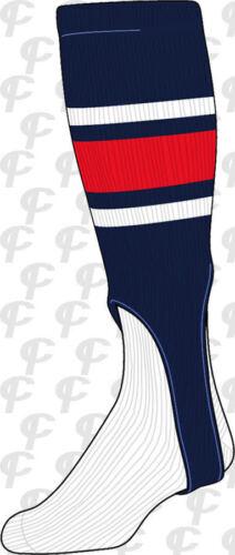 TCK Big Stripe Baseball Softball Twin City Stirrups Socks Navy Blue Red-White