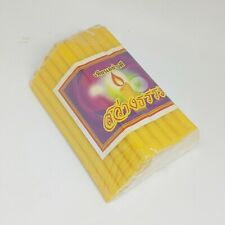 "50 Pcs Candle Yellow Thai Beeswax Natural Saeng Theph 4/"",7/"" For Worship Buddha"