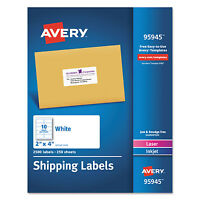 Avery White Shipping Labels Inkjet/laser 2 X 4 White 2500/box 95945 on sale