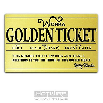 Printed Plastic Card, Willy Wonka GOLDEN TICKET Personalised World ...