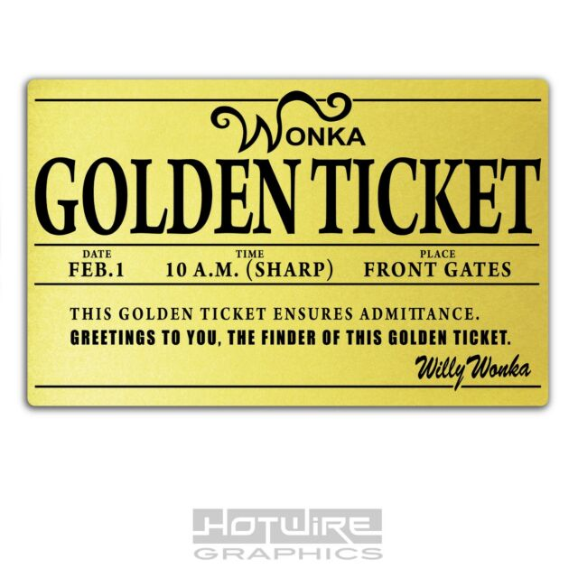 Printed Plastic Card Willy Wonka Golden Ticket Personalised Party