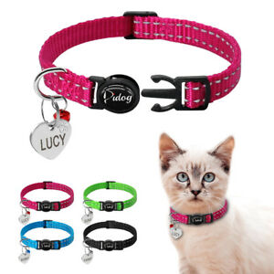 Pet-Puppy-Dog-Kitten-Cat-Break-Away-Collar-amp-Tag-Reflective-Safety-Quick-Release