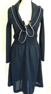 DéSintéRessé Vintage 70 S Gina Bleu Foncé Marine Sailor Poly, Robe M 12 14-afficher Le Titre D'origine