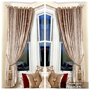 Curtains-Ring-Top-Eyelet-Ready-Made-FullyLined-Crush-Velvet-Champagne-Gold