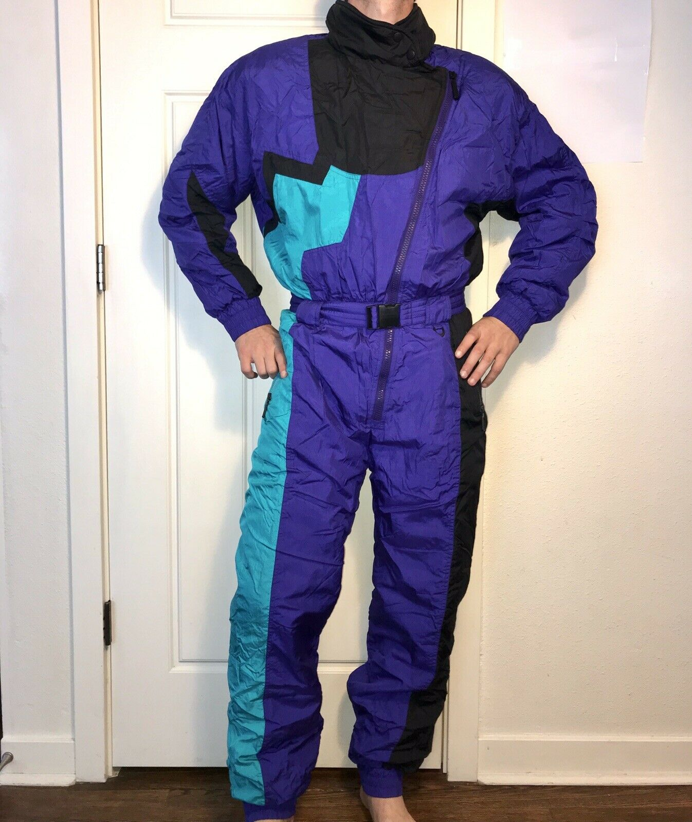 Vtg 80s 90s Womens  Medium PROFILE One piece SKI SUIT Snow Bib Snowsuit Gaper Day  wholesape cheap