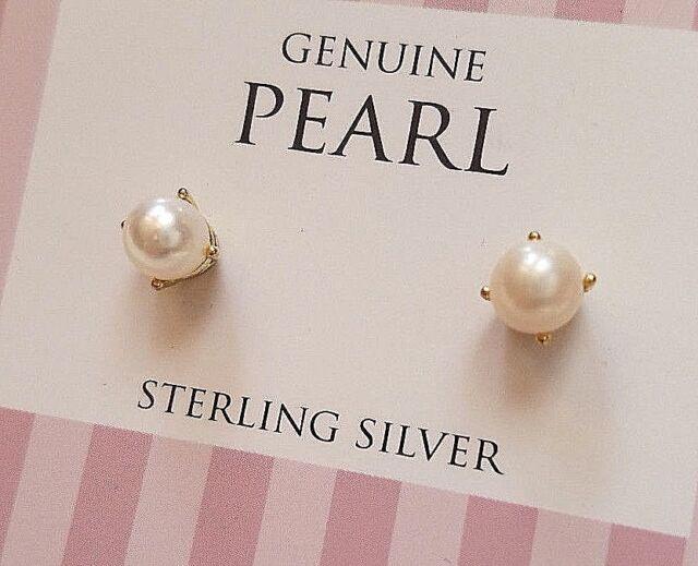 Genuine Pearl 6mm Stud Earrings 18k Gold 925 Sterling Silver Lady