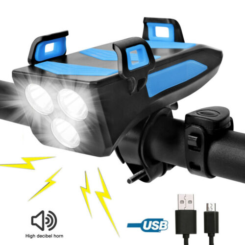 4 in 1 LED Bicycle Front Light Headlight Phone Holder Waterproof Horn Power Bank