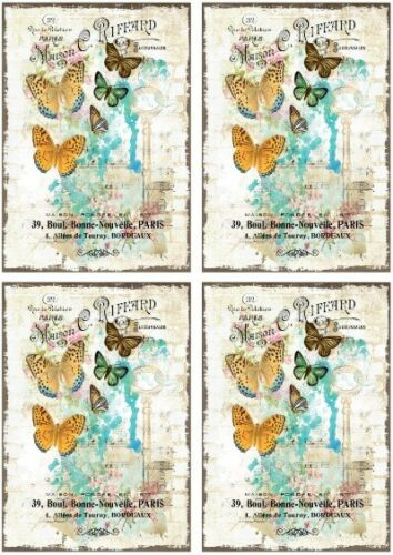 Decoupage-Bastelpapier-softpapier-Vintage Shabby-FLEURS-PAPILLON 12464