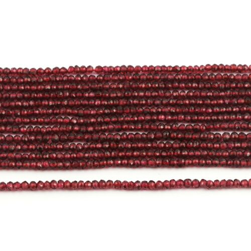 """AAA Quality Natural Garnet Gemstone Rondelle Faceted Beads 3-4 mm Strand 13/"""" AB"""