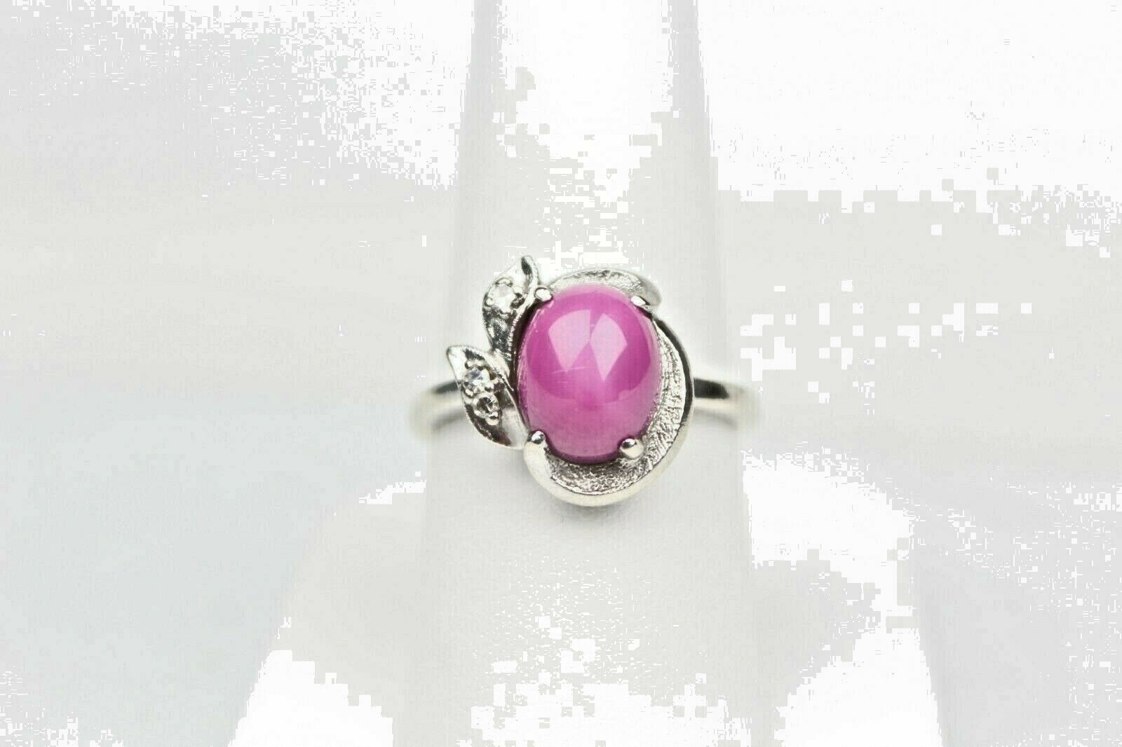 14kt White gold Ruby Star Sapphire With 3 Accent Diamonds Ring Size 7 1 2