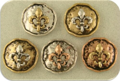 Beads Fleur de Lis Rustic Circles 3T Metal Pendants Charms 2 Hole Sliders QTY 5