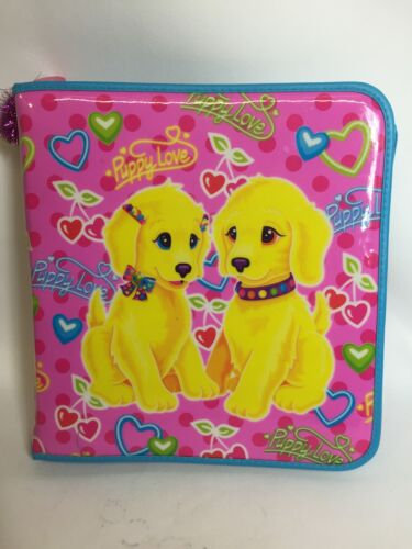 Lisa Frank Puppy Love 3 Ring Zip Binder Notebook Casey Candy Dogs Vintage 90
