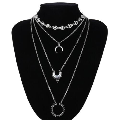 Multicouche Chaîne corne collier croissant de lune Charme Collier Pendentif Bijoux YN