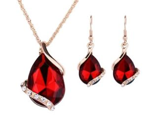 Rot Krisatll Vergoldet Herz Halskette und Ohrringe Set