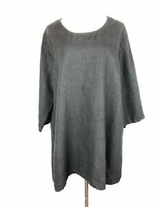 Bryn-Walker-Lagenlook-Linen-Oversized-Tunic-Top-Black-Size-M