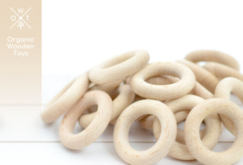 71-1 made in Europe 100 Wooden Teething Rings 45mm certified EN 71-3 WHOLESALE