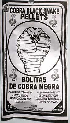 Cobra Black Snake Pellets Santeria Hoo Doo  Wicca Voo Doo