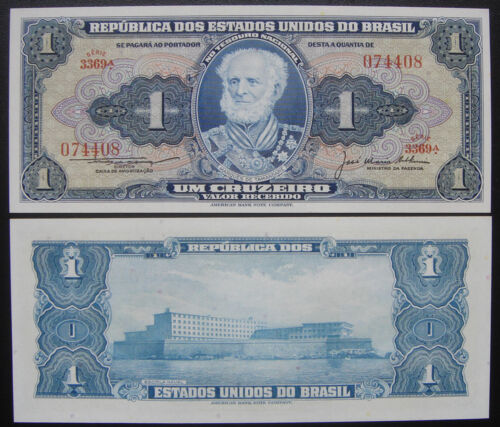 Signature #1 BRAZIL BRASIL 1 CRUZEIRO BANKNOTE UNC