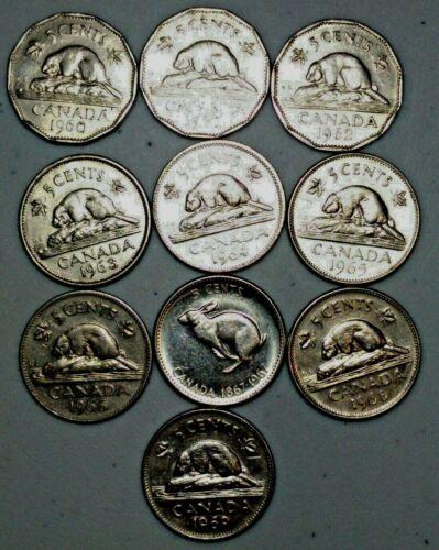 1960-1969 Canada 5 Cent//Nickel Lot of 10 Includes  Centennial Nickel
