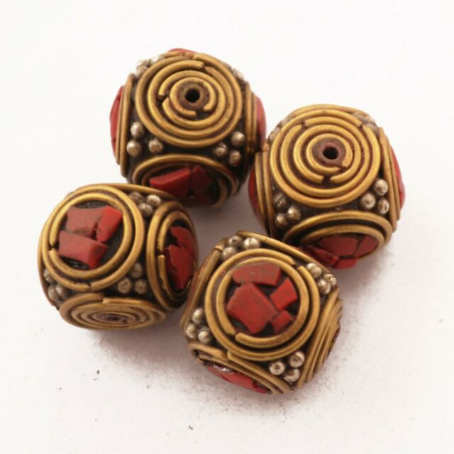 Coral Brass 4 Beads Tibetan Nepalese Handmade Ethnic Tribal Nepal UB56