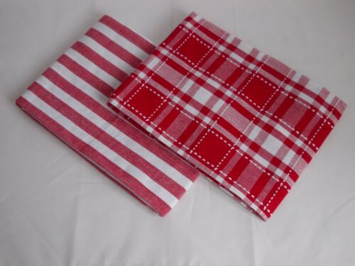 4 x LARGE  50 x 70 cm TEA TOWELS 2 DESIGN MIX RED AND WHITE 100/% COTTON