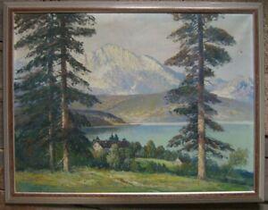 ALBERT-BLAETTER-1878-1935-ALPEN-HAUS-AM-SEE-BERGE-BAYERN-TANNEN-IDYLLE-OL