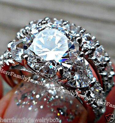 925 Sterling Silver 14k White Gold Round Diamond cut Engagement Ring Wedding Set