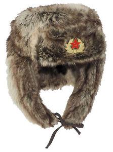 russ-wintermutze-034-Shapka-034-Marron-proteccion-contra-el-frio-CAP-Gorro-de-campo