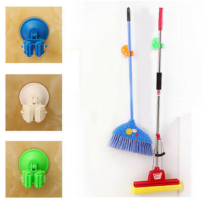 Powerful Mop Broom Suction Cup Holder Wall Vacuum Hanger House Organizer Storage