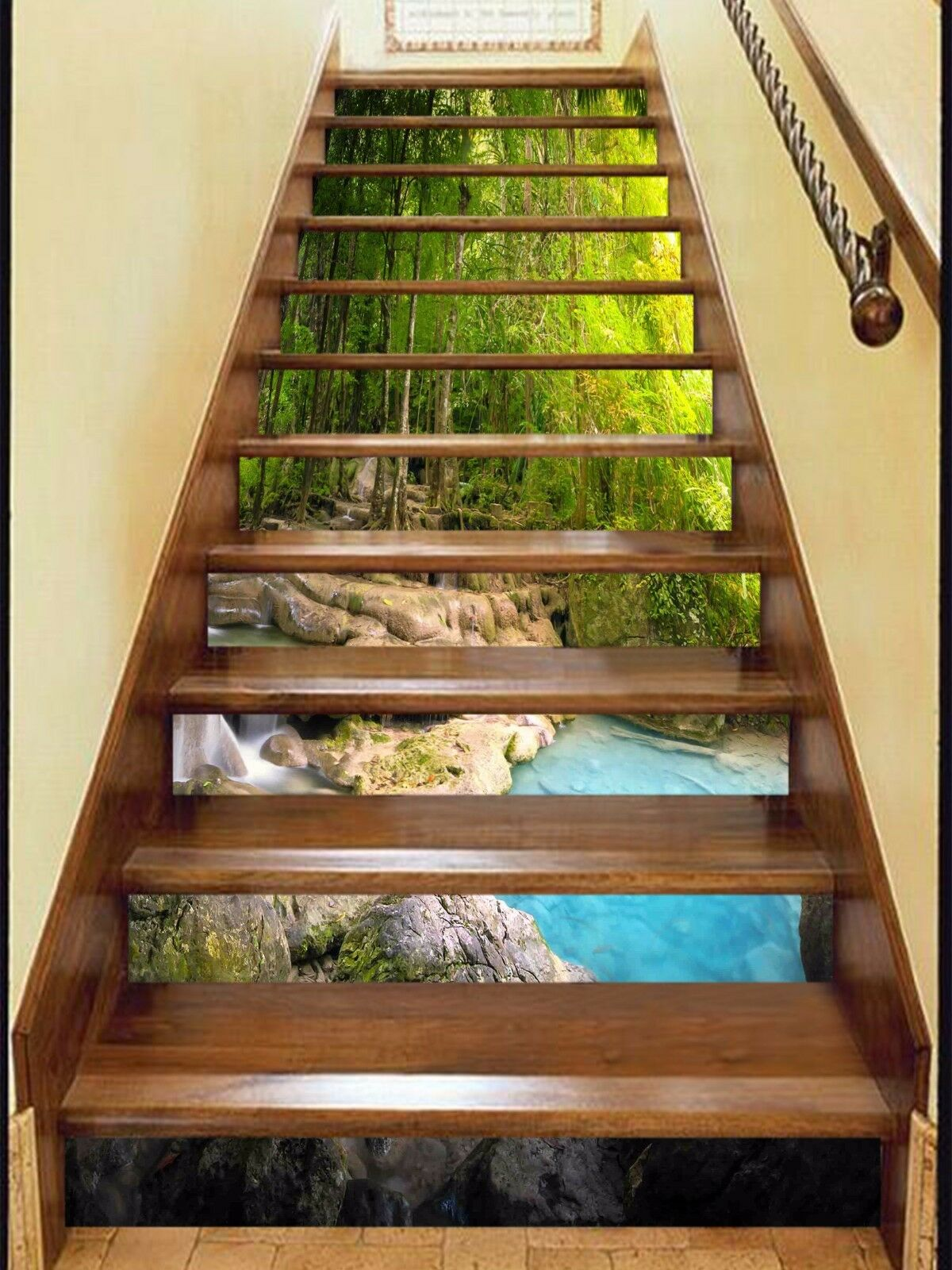 3D Forest lake Stair Risers Decoration Photo Mural Vinyl Decal Wallpaper AU