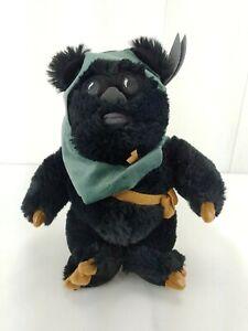 "Disney Parks Black Ewok Tokkat Plush 10"" Stuffed Animal Star Wars Extremely Rare"