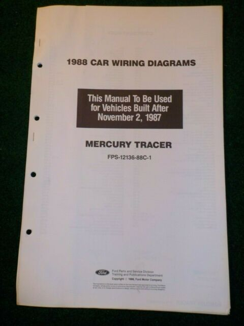 1988 Mercury Tracer Electrical Schematic Wiring Diagram