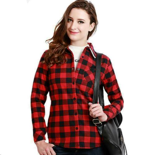 Womens Shirts Check Plaid Lapel Long Sleeve Casual Tee Top T-Shirt Red Blouse