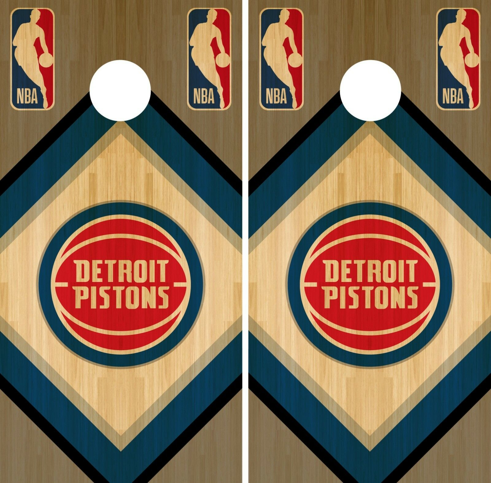 Detroit Pistons Cornhole Wrap NBA Wood Game  Board Skin Set Vinyl Decal CO600  timeless classic
