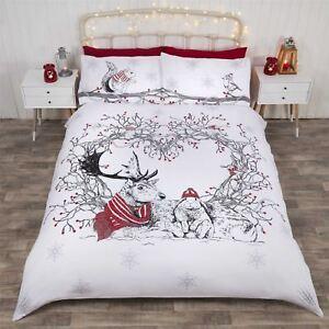 Christmas Winter Animals Wreath Red Cotton Blend Single Duvet Cover Ebay