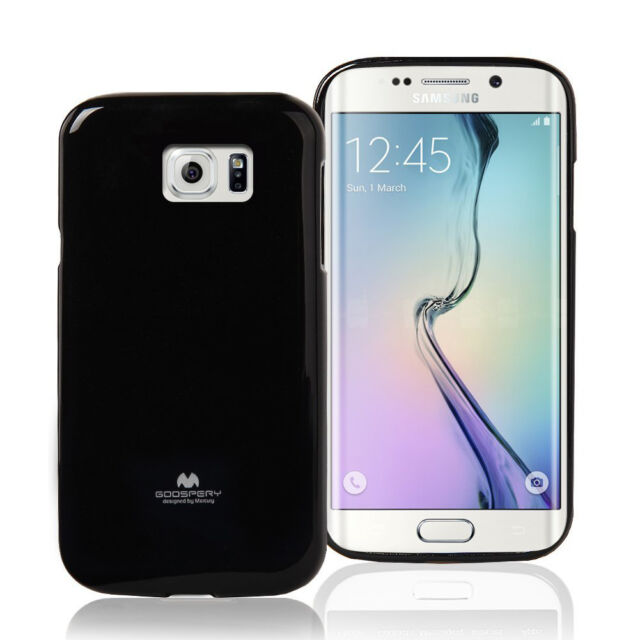 Korean Mercury Pearl TPU Gel Jelly Case Cover for Samsung Galaxy S6 Edge - Black