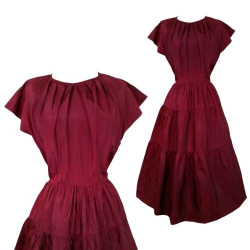 vintage 40s burgundy maroon tiered side zip party… - image 1