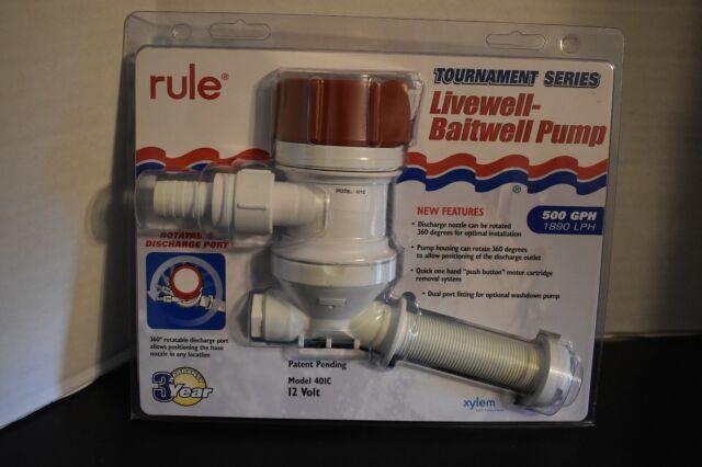 Rule 401FC Tournament Series Livewell Aerator Pump 500GPH Boat Fishing Marine LC