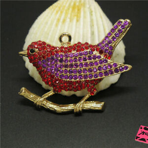 New-Betsey-Johnson-Red-Crystal-Cute-Sparrow-Bird-Charm-Woman-Brooch-Pin-Gift
