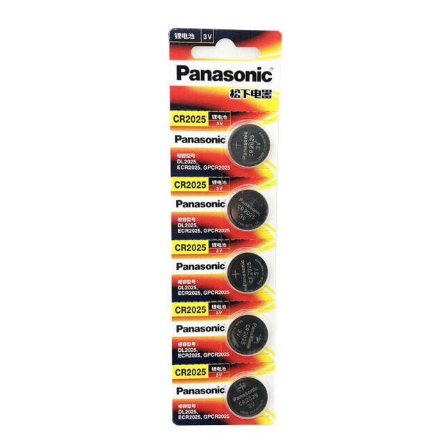 5 x Panasonic CR2025 3V Lithium Battery Button Coin Cell 4 Alarm Car Key