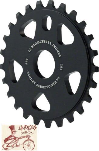SUNDAY SABRETOOTH V2  25T BLACK BICYCLE SPROCKET