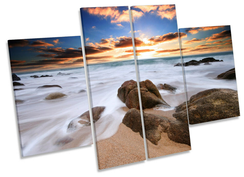 CornWand Seascape Beach Sunset CANVAS Wand Kunst MULTI Panel Bild Drucken