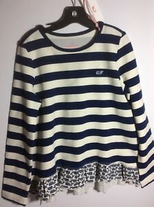 NWT-Vineyard-Vines-Girls-Blue-and-Off-White-Etched-Whale-RuffleTop-Sz-7-8