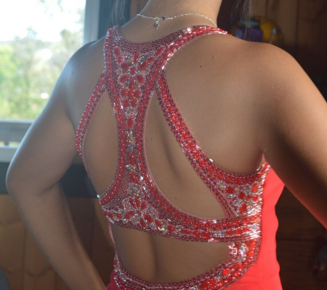 Red Red Red prom dress with Rhinestone Embellishments size large 2cb795